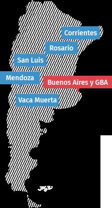 Contamos con 5 sucursales en Argentina.